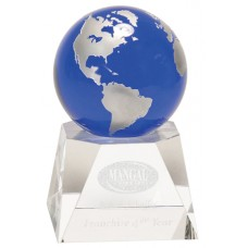"""NEW"" Blue Crystal Globe with Clear Crystal Base"